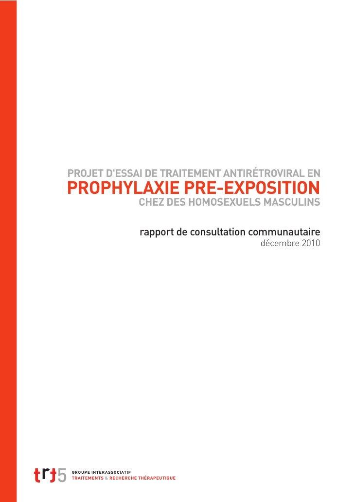 PROJET D'ESSAI DE TRAITEMENT ANTIRÉTROVIRAL EN PROPHYLAXIE PRE-EXPOSITION                                         CHEZ DES...