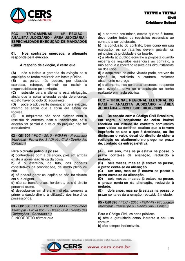 TRT/PE e TRT/RJ Civil Cristiano Sobral 1 FCC - TRT/CAMPINAS - 15ª REGIÃO - ANALISTA JUDICIÁRIO - ÁREA JUDICIÁRIA - ESPECIA...