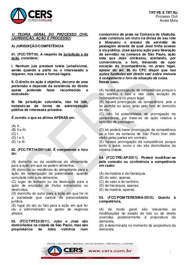 TRT/PE E TRT/RJ Processo Civil André Mota 1 1) TEORIA GERAL DO PROCESSO CIVIL (JURISDIÇÃO, AÇÃO E PROCESSO) A) JURISDIÇÃO/...