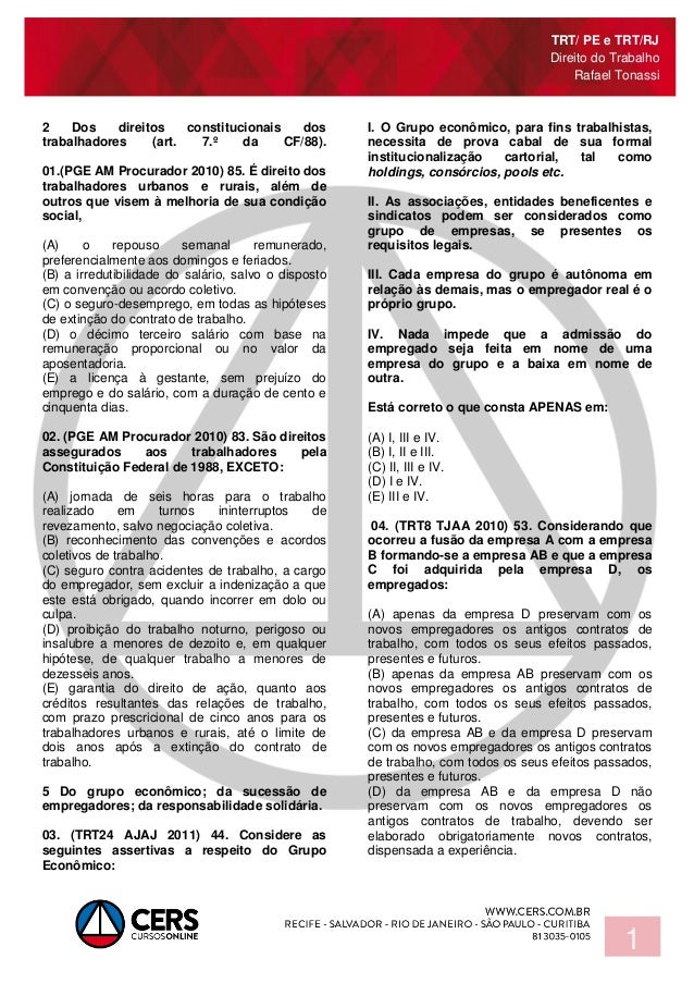 TRT/ PE e TRT/RJ Direito do Trabalho Rafael Tonassi 1 2 Dos direitos constitucionais dos trabalhadores (art. 7.º da CF/88)...
