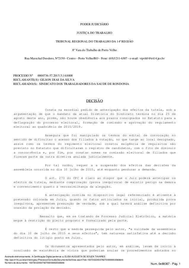 PODER JUDICIÁRIO JUSTIÇA DO TRABALHO TRIBUNAL REGIONAL DO TRABALHO DA 14ª REGIÃO 8ª Vara do Trabalho de Porto Velho Rua Ma...