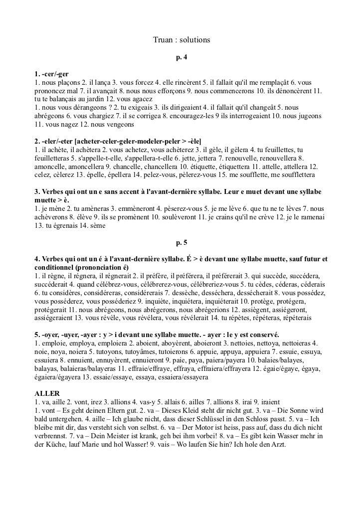 Truan : solutions                                                    p. 41. -cer/-ger1. nous plaçons 2. il lança 3. vous f...