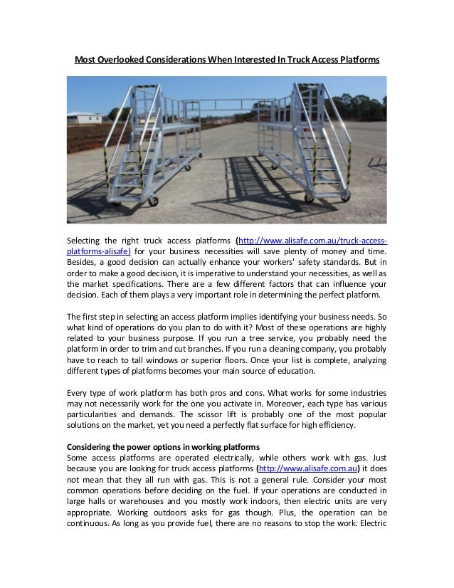 Most Overlooked Considerations When Interested In Truck Access Platforms  Selecting the right truck access platforms (http...