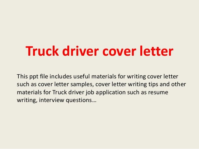 truck driver cover letter - Mersn.proforum.co