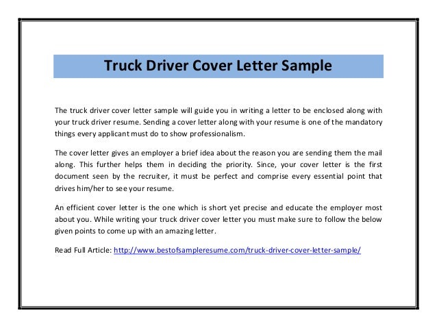 truck driver cover letter sample the truck driver cover letter