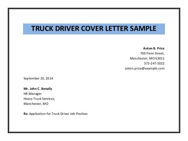 4 truck driver cover letter sample - Job Cover Letter Sample Pdf