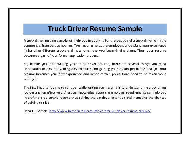 Truck ...  Sample Truck Driver Resume