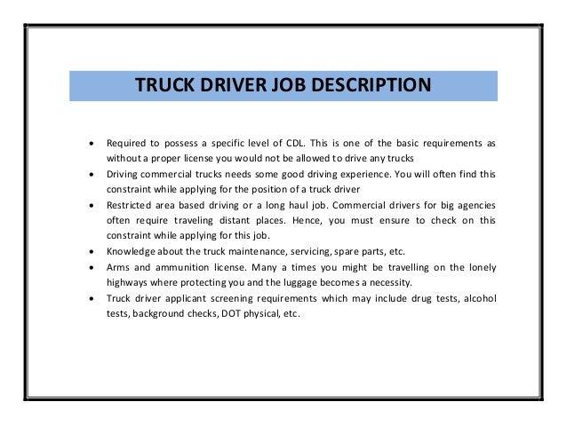 Truck Driver Job Description Sarahepps Com