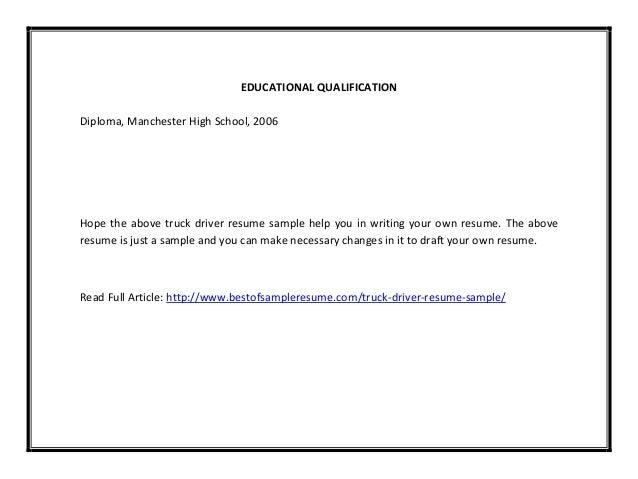truck driver resume sample pdf