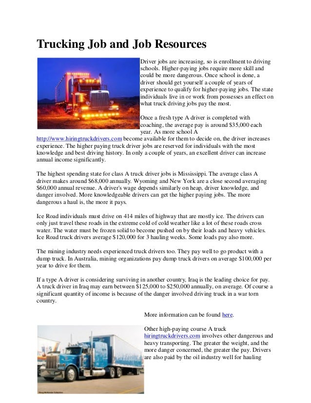 Driving Jobs Nyc >> Trucking Job And Job Resources