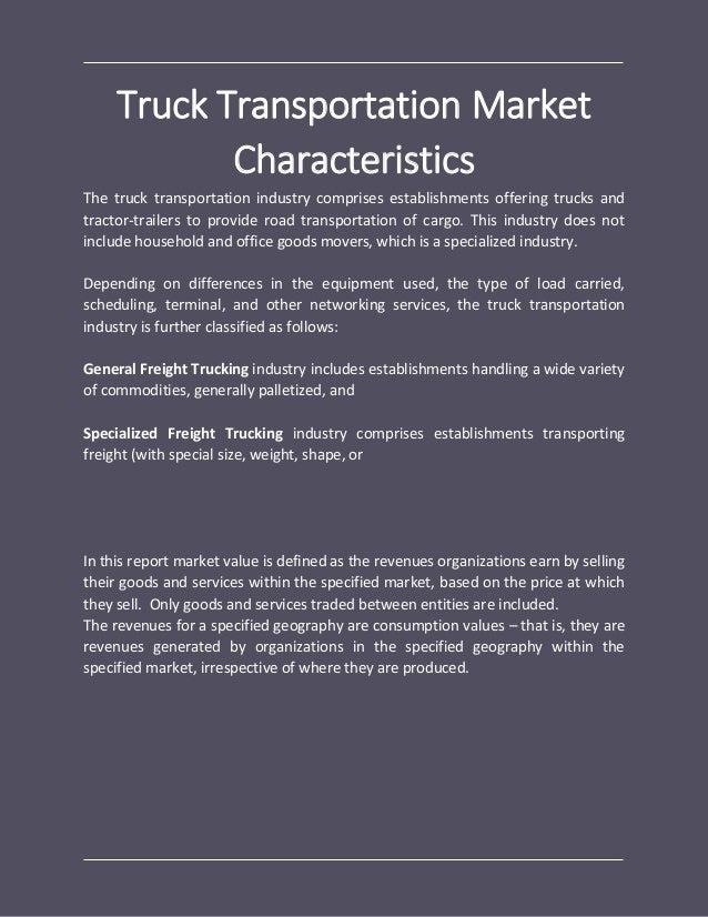 Truck transportation global market report 2018
