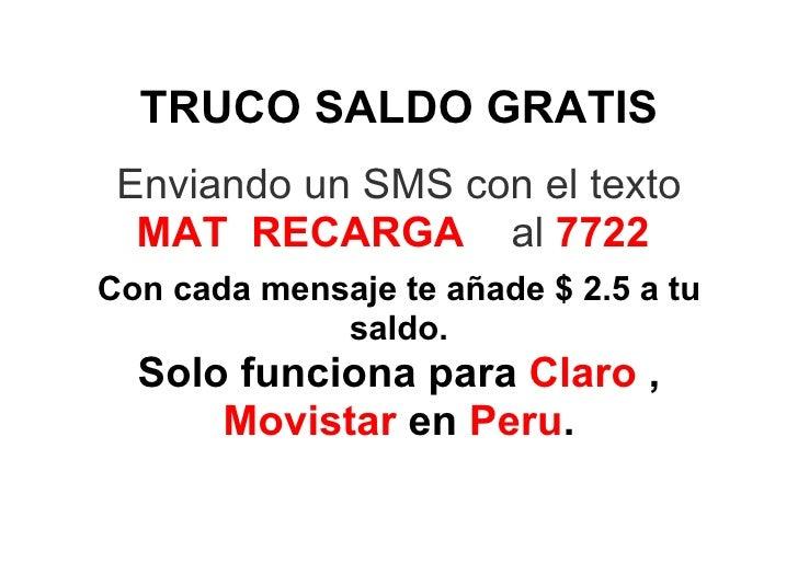 Truco Saldo Recarga Gratis Movistar Claro Peru