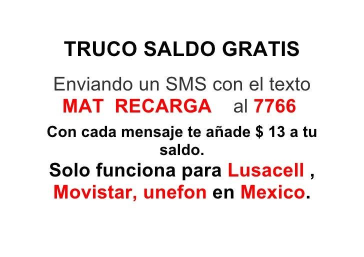 Truco Saldo Recarga Gratis Movistar Lusacell Unefon Mexico