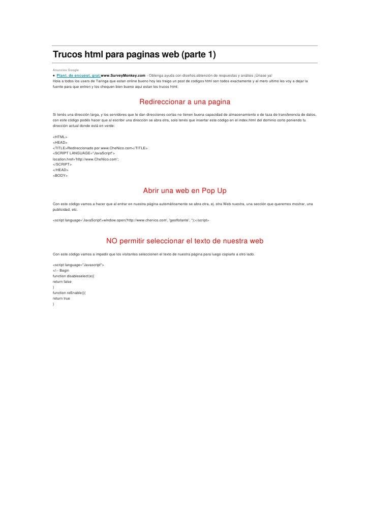 Trucos html para paginas web (parte 1)<br />Anuncios Google<br />  Plant. de encuest. grat.www.SurveyMonkey.com-Obtenga...
