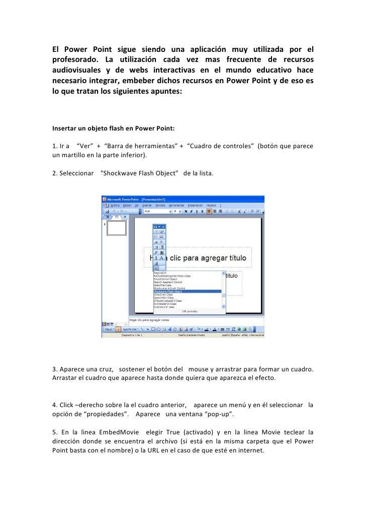 El Power Point sigue siendo una aplicación muy utilizada por el profesorado. La utilización cada vez mas frecuente de recu...