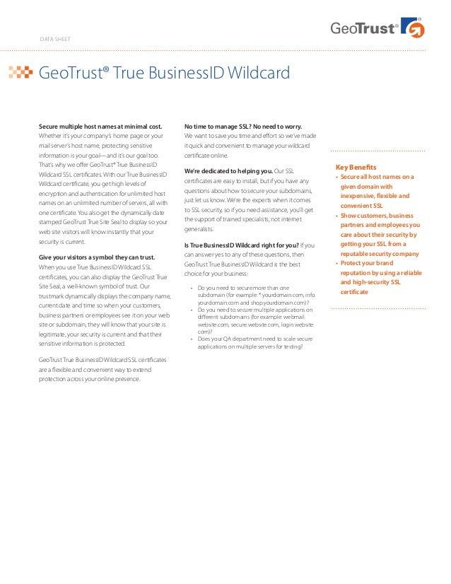 Geo Trust True Business Id Wildcard Ssl