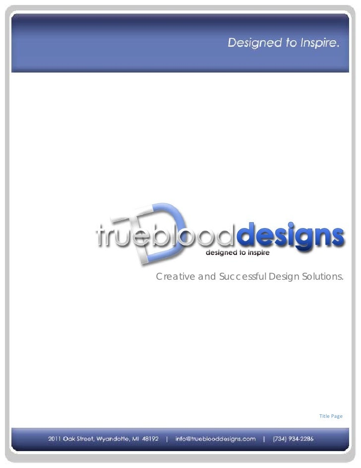 Creative and Successful Design Solutions.                                        Title Page