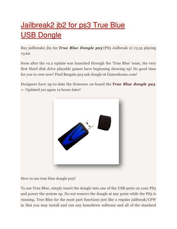 True blue dongle ps3