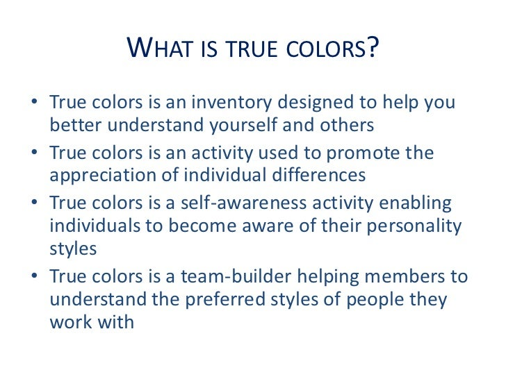 graphic relating to True Colors Personality Test Printable identified as Correct Shades