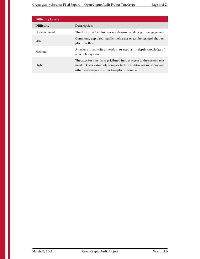 Cryptography Services Final Report — Open Crypto Audit Project TrueCrypt Page 11 of 21 Difficulty Levels Difficulty Descriptio...