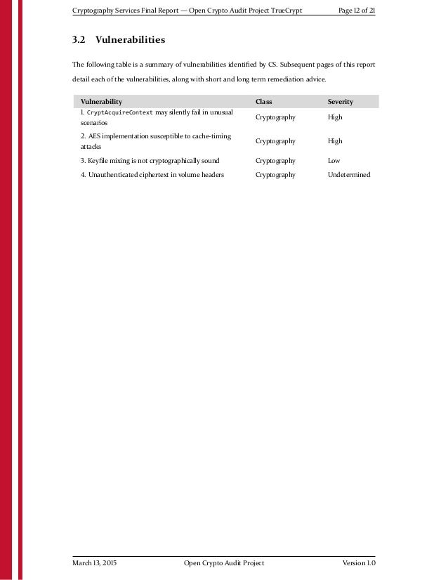 Cryptography Services Final Report — Open Crypto Audit Project TrueCrypt Page 12 of 21 3.2 Vulnerabilities The following t...