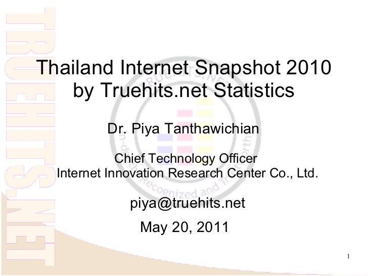 Thailand Internet Snapshot 2010   by Truehits.net Statistics          Dr. Piya Tanthawichian             Chief Technology ...