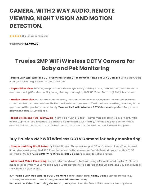 TRUEIES 2MP WIFI WIRELESS CCTV CAMERA HD BABY AND PET MONITOR
