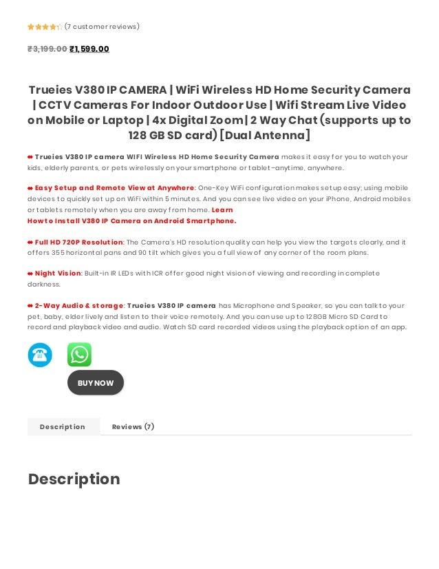 TRUEIES V380 IP CAMERA WIFI WIRELESS HD HOME SECURITY CAMERA