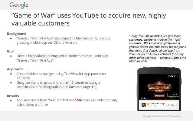 """""""Game of War"""" uses YouTube to acquire new, highly  valuable customers  Background  ● """"Game of War - Fire Age"""", developed b..."""