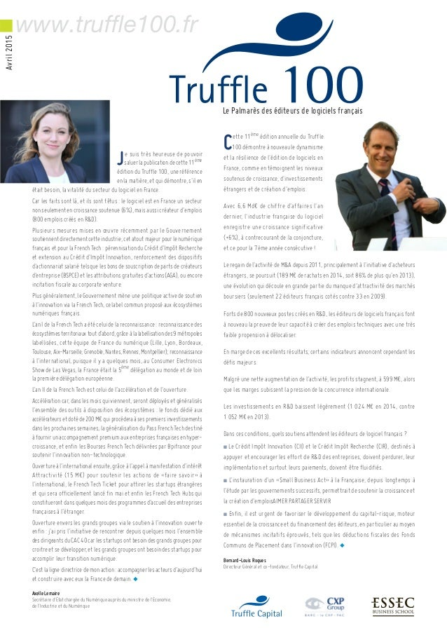 Cette 11ème édition annuelle du Truffle 100 démontre à nouveau le dynamisme et la résilience de l'édition de logiciels en ...