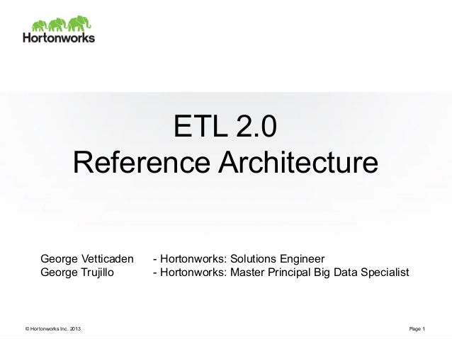 © Hortonworks Inc. 2013 ETL 2.0 Reference Architecture Page 1 George Vetticaden - Hortonworks: Solutions Engineer George T...