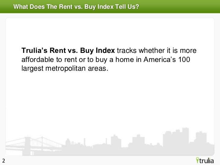 Trulia Spring 2012 Rent vs. Buy Index Slide 2