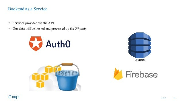 16.04.17 14 § Services provided via the API § Our data will be hosted and processed by the 3rd party Backend as a Service