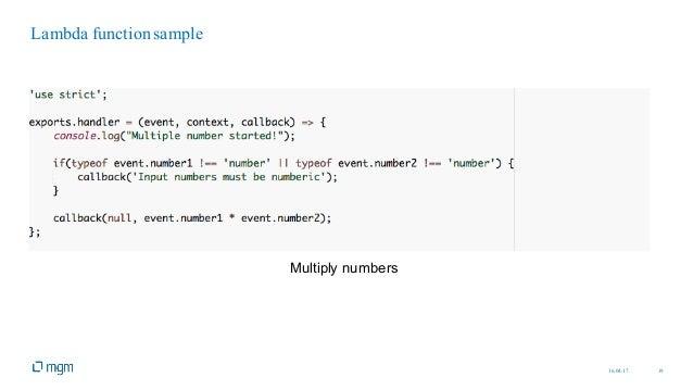 16.04.17 19 Lambda function sample Multiply numbers