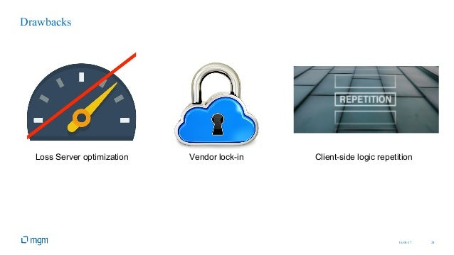16.04.17 24 Drawbacks Loss Server optimization Vendor lock-in Client-side logic repetition