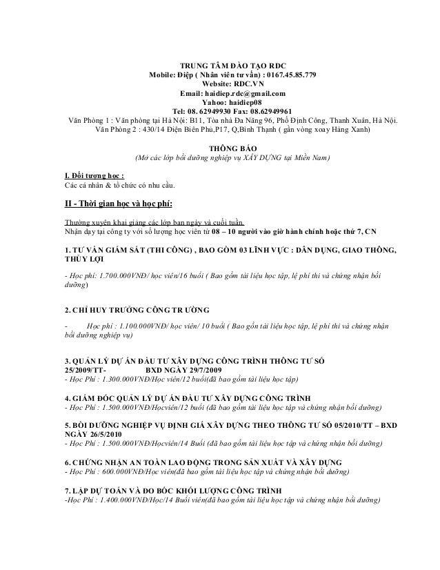 TRUNG TÂM ĐÀO TẠO RDC                        Mobile: Điệp ( Nhân viên tư vấn) : 0167.45.85.779                            ...