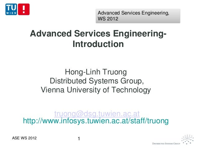 Advanced Services Engineering,                              WS 2012       Advanced Services Engineering-               Int...