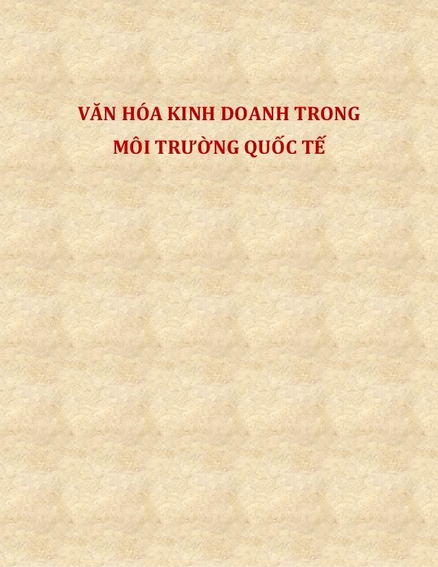 VĂN HÓA KINH DOANH TRONG MÔI TRƯỜNG QUỐC TẾ