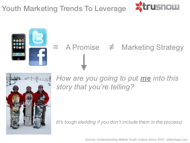 Youth Marketing Trends To Leverage              =   A Promise                 ≠       Marketing Strategy              How ...