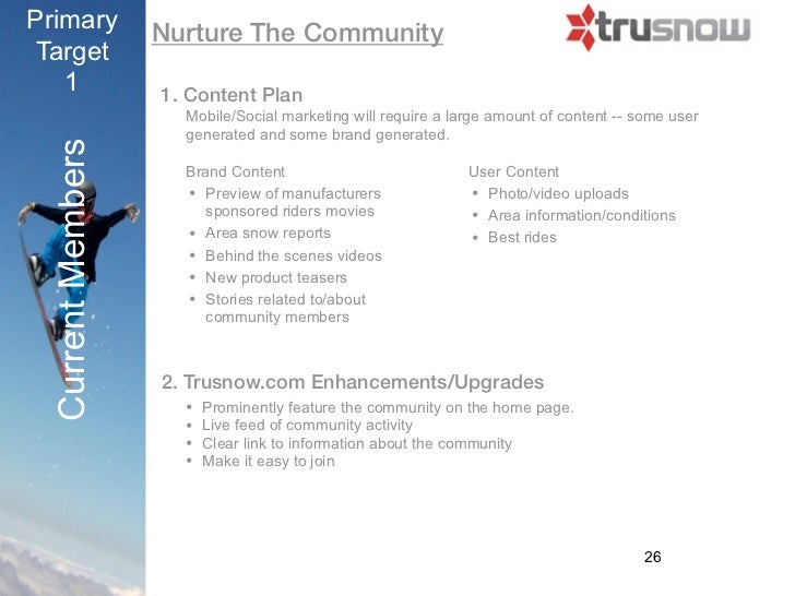 Primary            Nurture The CommunityTarget   1               1. Content Plan                      Mobile/Social market...