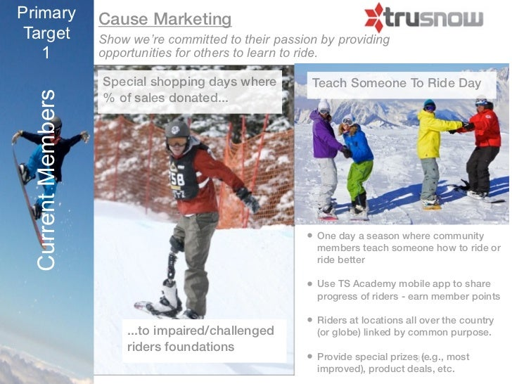 Primary            Cause MarketingTarget             Show we're committed to their passion by providing   1               ...