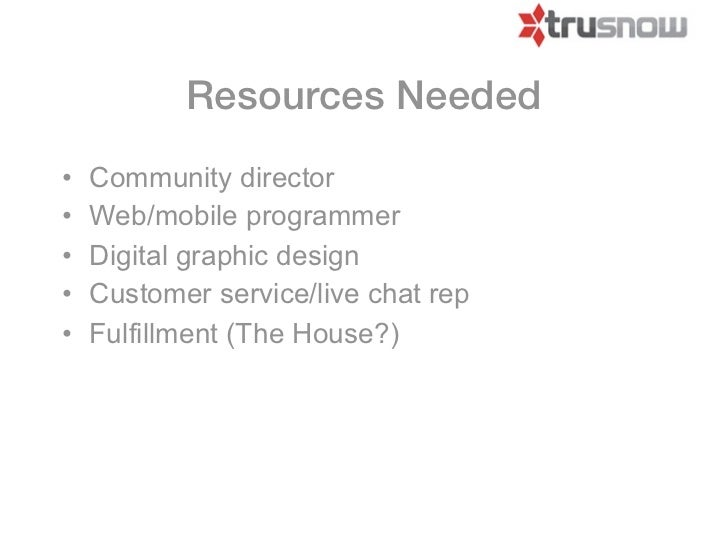 Resources Needed•   Community director•   Web/mobile programmer•   Digital graphic design•   Customer service/live chat re...