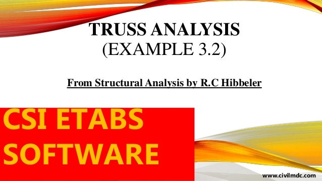 TRUSS ANALYSIS (EXAMPLE 3.2) From Structural Analysis by R.C Hibbeler www.civilmdc.com CSI ETABS SOFTWARE