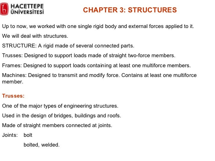 CHAPTER  3 :  STRUCTURES Up to now, we worked with one single rigid body and external forces applied to it.  We will deal ...