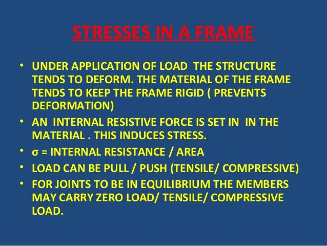 STRESSES IN A FRAME • UNDER APPLICATION OF LOAD THE STRUCTURE TENDS TO DEFORM. THE MATERIAL OF THE FRAME TENDS TO KEEP THE...