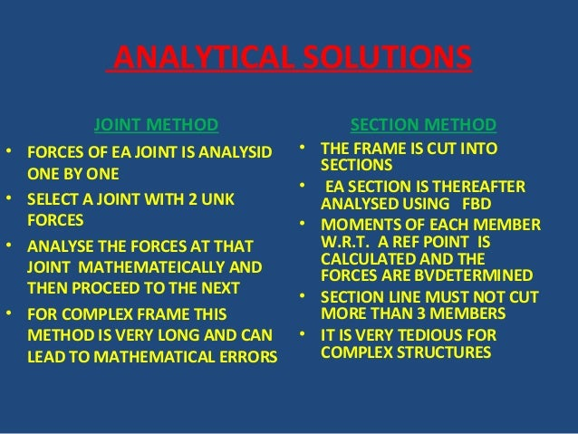ANALYTICAL SOLUTIONS JOINT METHOD • FORCES OF EA JOINT IS ANALYSID ONE BY ONE • SELECT A JOINT WITH 2 UNK FORCES • ANALYSE...
