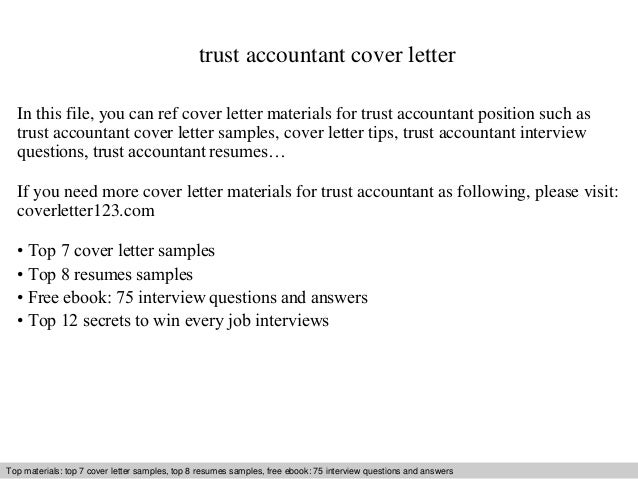 Trust Accountant Cover Letter In This File, You Can Ref Cover Letter  Materials For Trust ...  Accounting Resume Cover Letter