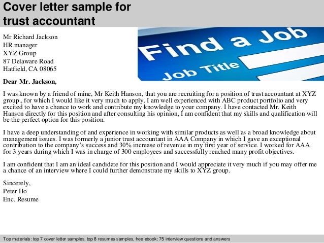 Cover Letter Sample For Trust Accountant ...