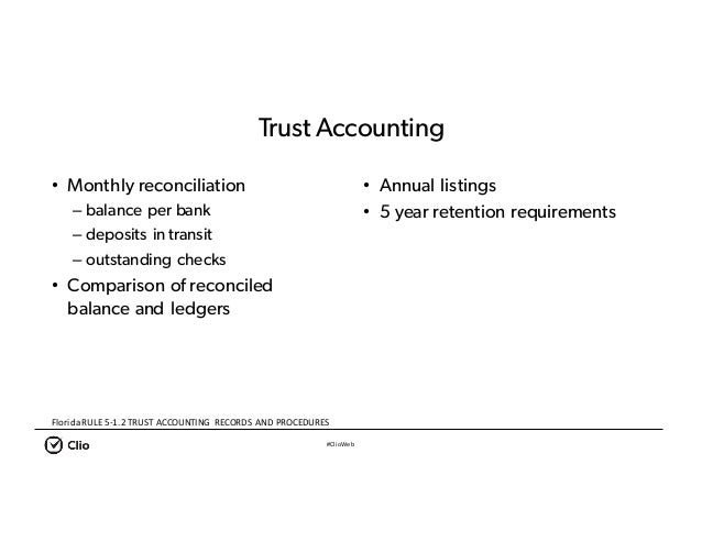 #ClioWeb • Monthly reconciliation – balance per bank – deposits in transit – outstanding checks • Comparison of reconciled...