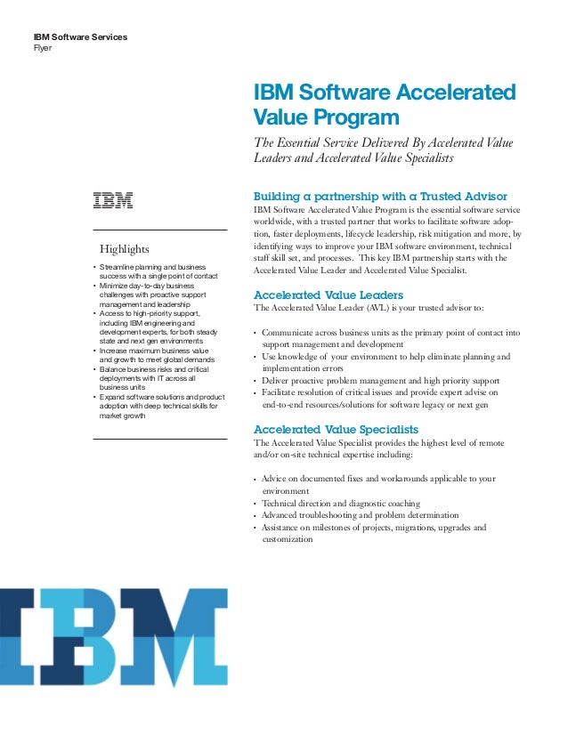 IBM Software Services Flyer IBM Software Accelerated Value Program The Essential Service Delivered By Accelerated Value Le...